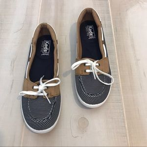 KEDS Women's Camel Leather Navy Striped Boat Shoes